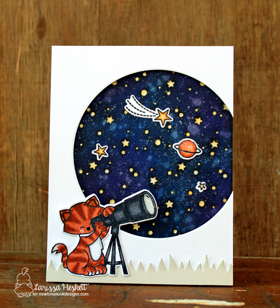 Cat with Telescope Space Card by Larissa Heskett | Cosmic Newton Stamp Set by Newton's Nook Designs #newtonsnook