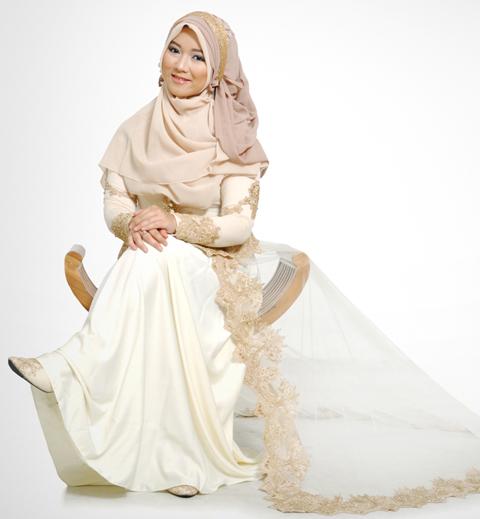 model baju pengantin syari