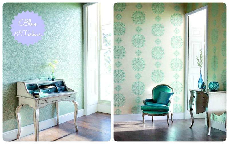 turkusowe dekoracje w salonie