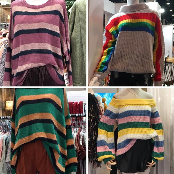 rainbow striped sweater trend