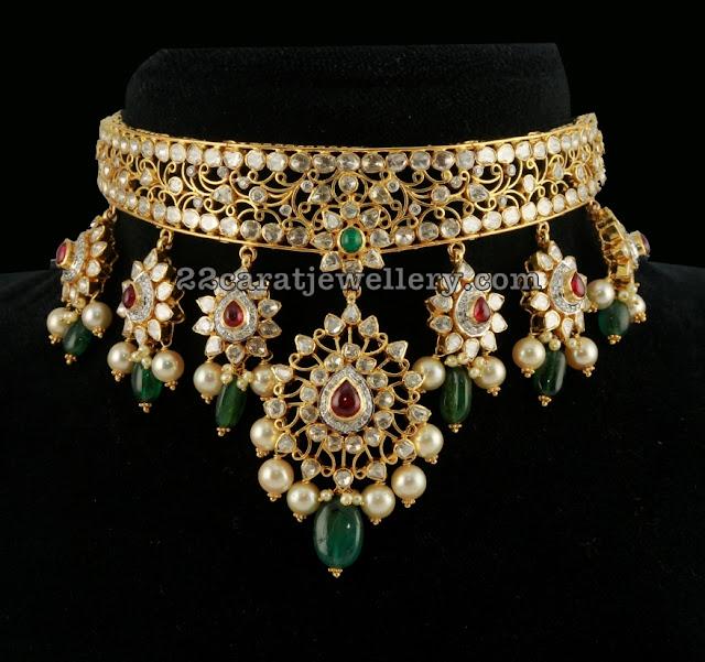 Polki Choker by Tibarumal Ramnivas Jewellers