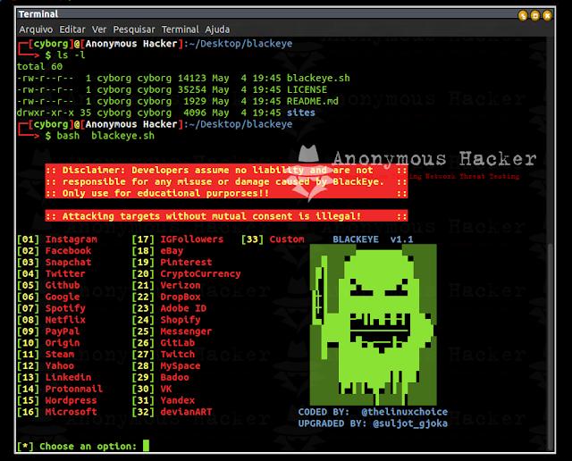 BlackEye A ferramenta de phishing mais completa com 32 modelos