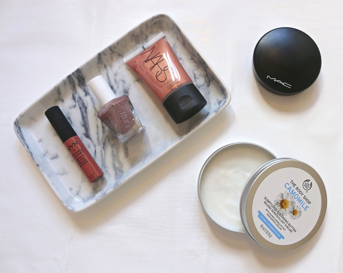 June Beauty Favourites NARS Orgasm Illuminator, ESSIE Gel Couture Take Me To Thread, NYX Soft Matte Lip Cream Cannes, MAC Mineralize Skinfinish Natural Powder and The Body Shop Camomile Sumptuous Cleansing butter