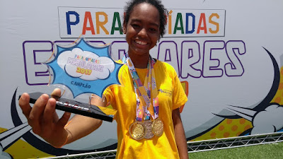 Daniele conquista 3 medalhas nas Paralimpíadas Escolares