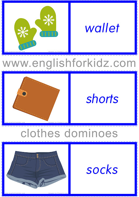 Clothes and accessories domino game for teaching ESL