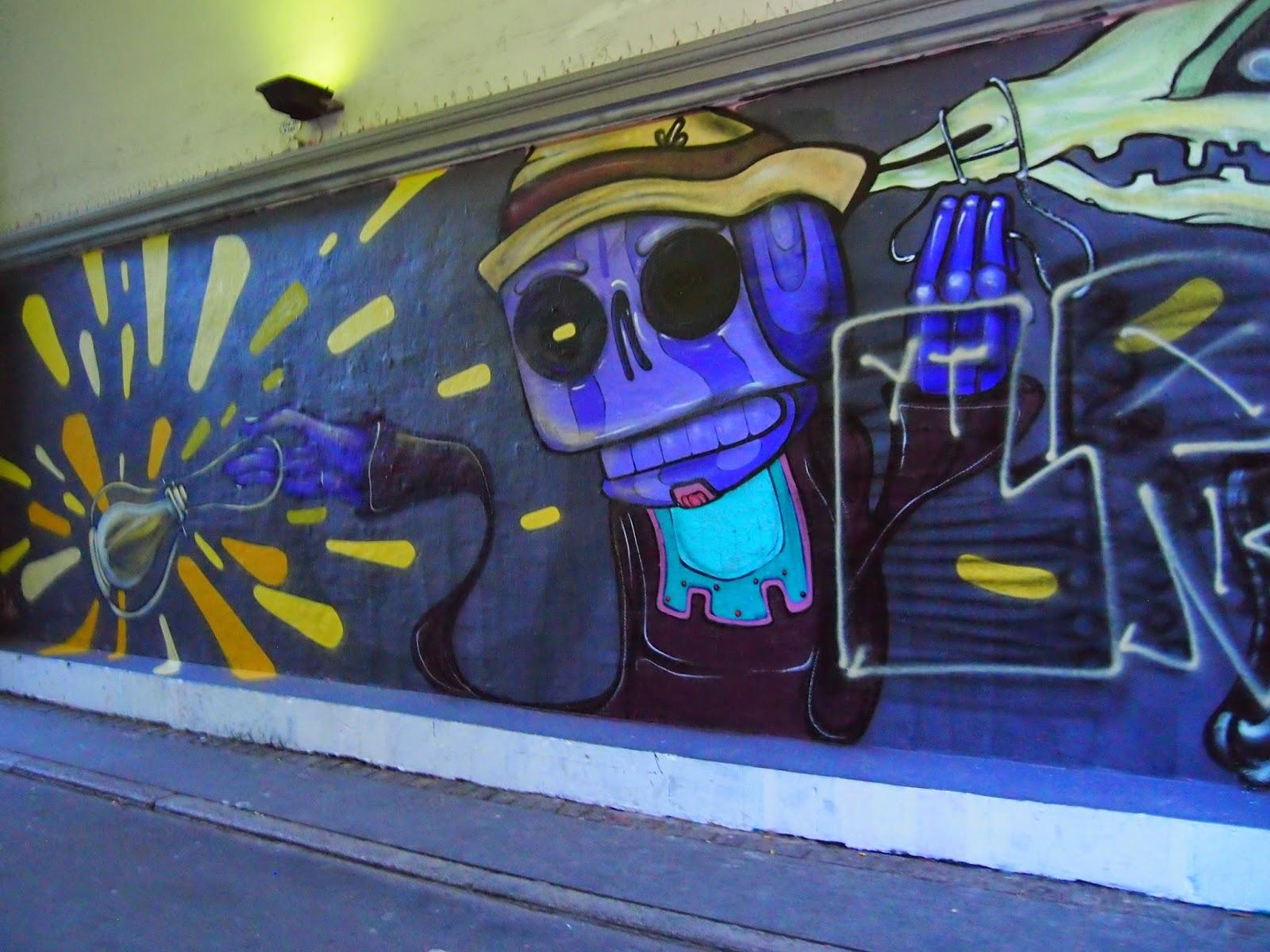 a skeleton mural in copenhagen