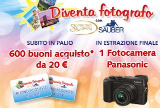 Logo Con Sauber e Spuma di Sciampagna vinci 600 buoni acquisto e fotocamera