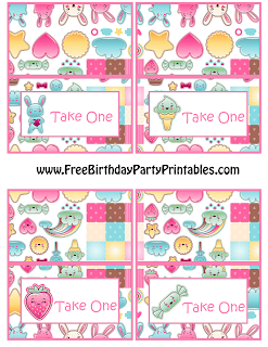 Free Kawaii Birthday Party Printables- Food Cards