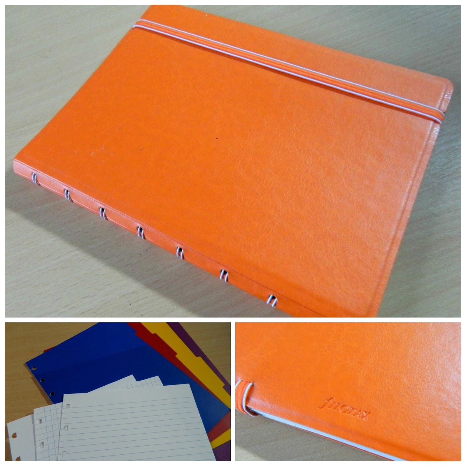 Filofax Refillable Notebook in orange, collage,