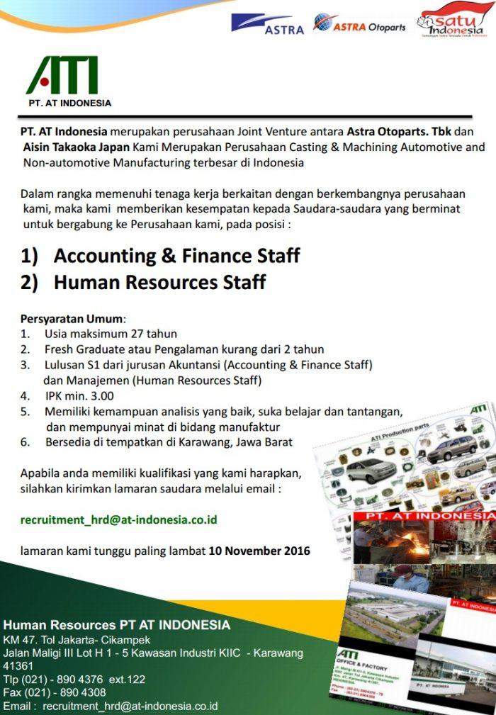 Lowongan Kerja PT. AT Indonesia ( Astra Group ) November 2016