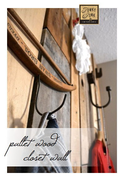 Need extra clothing storage in your bedroom? Learn how to build this pallet wood closet wall, which is a feature wall with hooks! Rustic, cool and super productive for hanging your clothing!