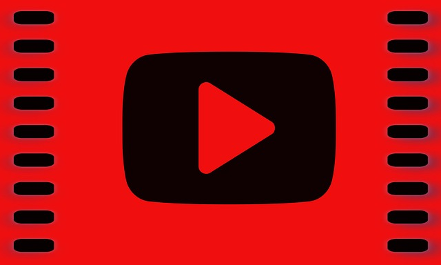 video 'play' symbol in black against a red background