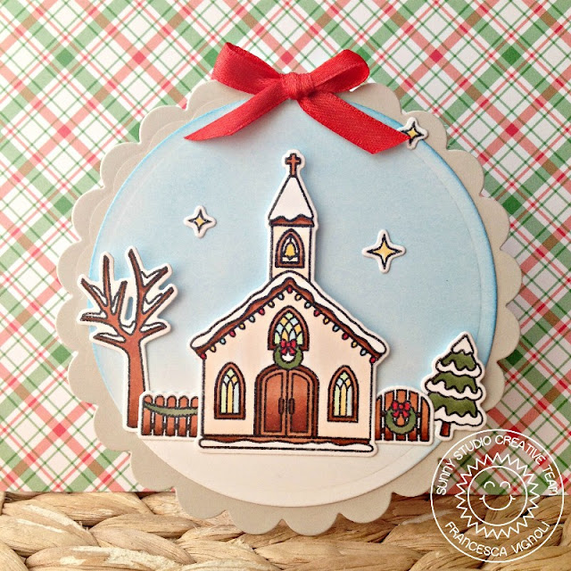 Sunny Studio Stamps: Christmas Chapel Mini Scalloped Shaped Winter Card by Fancesca Vignoli