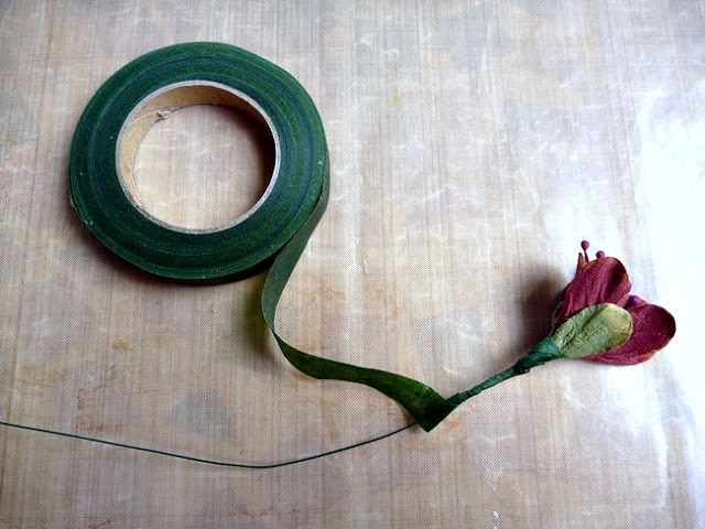 Floral Tape Wrapped Floral Stem by Dana Tatar