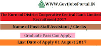 The Kurnool District Cooperative Central Bank Limited Recruitment 2017 – 62 Staff Assistant / Clerks