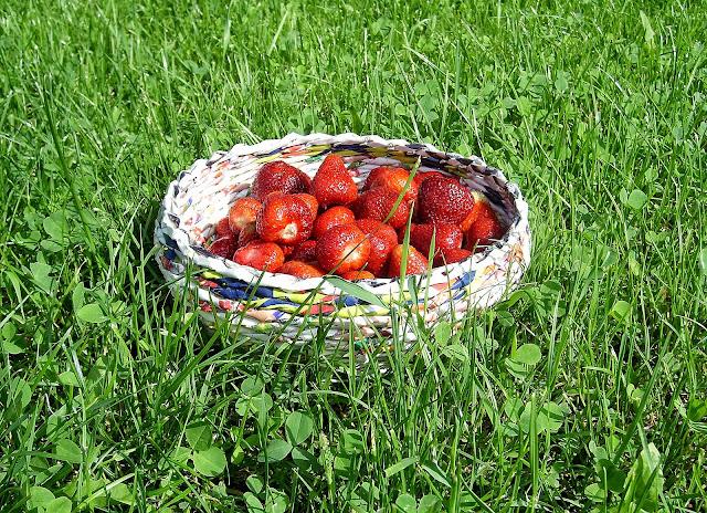 koszyk z gazet na owoce