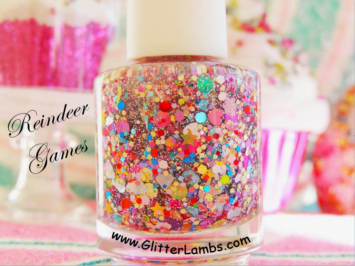 Christmas custom handmade indie glitter topper nail lacquer for the holiday season by Glitter Lambs.
