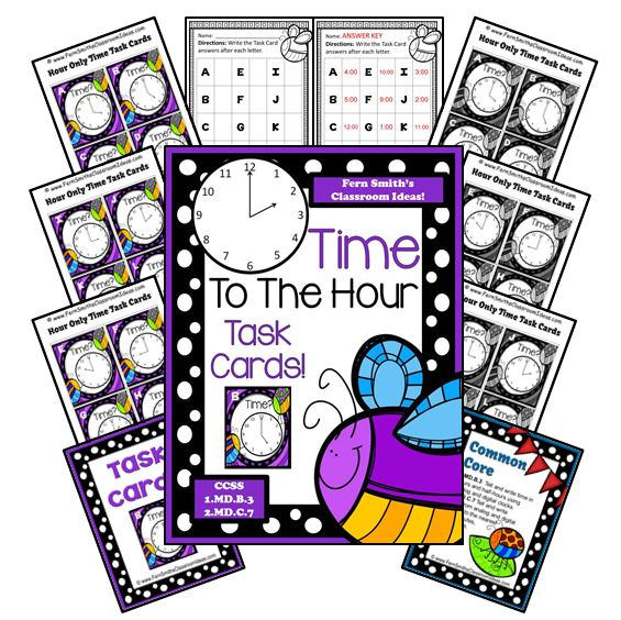 Fern's Freebie Friday ~ FREE Springtime Time To The Hour Task Cards and Recording Sheet For 1.MD.B.3