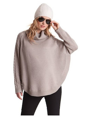 Almond Cable Knit Cape Maternity Sweater