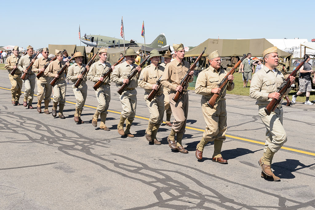 Reenactors Marching at WWII Weekend
