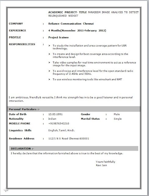 Resume Format For Freshers Networking And Hardware - Network ...