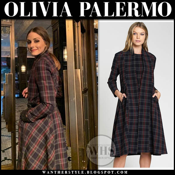 Olivia Palermo in red and blue tartan plaid dra tridente coat winter style january 5