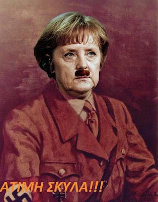 Griechenland Krise - Angela Merkel wird als Hitler dargestellt