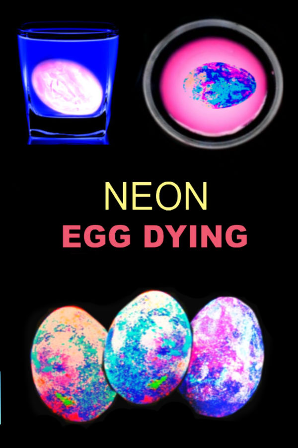 WOW the kids and make neon glowing Easter eggs!  This homemade egg dye glows in the dark, producing out of this world effects.  My entire family was in awe by egg dying technique. #eggdye #eggdying #eastereggdyeideas #glowinthedarkeastereggs #glowinthedarkeaster #neoneastereggs #neoneggcoloring #neoneggdye #gloweggs