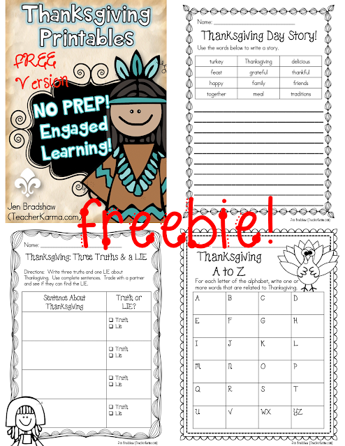 Thanksgiving activities free TeacherKarma.com