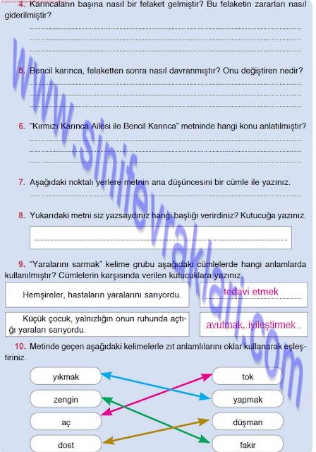 4. Sınıf Türkçe Çalışma Kitabı Cevapları Doku Yayınları Sayfa 31