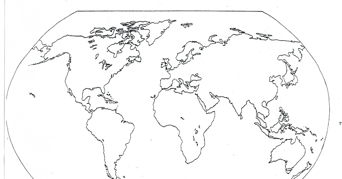Blank World Map Continents And Oceans   White Gold