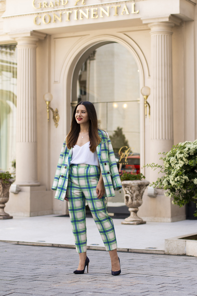 adina nanes checked suit street style