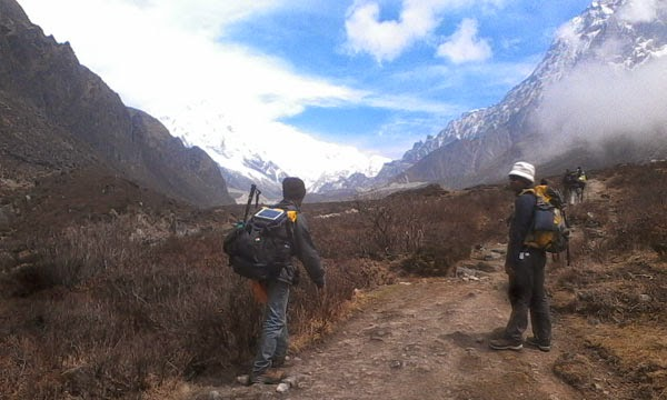 Solar Charger with Backpack in trekking Himalaya