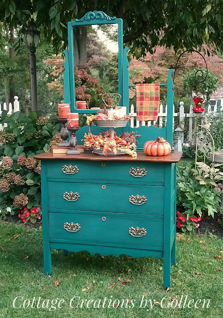 Green Washstand with brass hardware