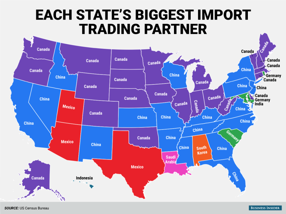 Each State's Biggest import Trading Partner