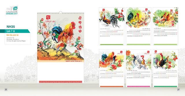 NH35 - Đinh dậu phát tài, Lịch treo tường 7 tờ, in lịch, mẫu lịch đẹp, mẫu lịch đinh dậu, lịch con gà