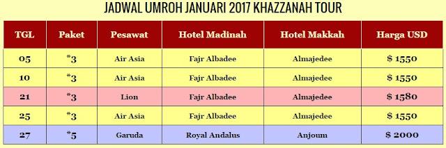 Biaya Umroh Januari 2017
