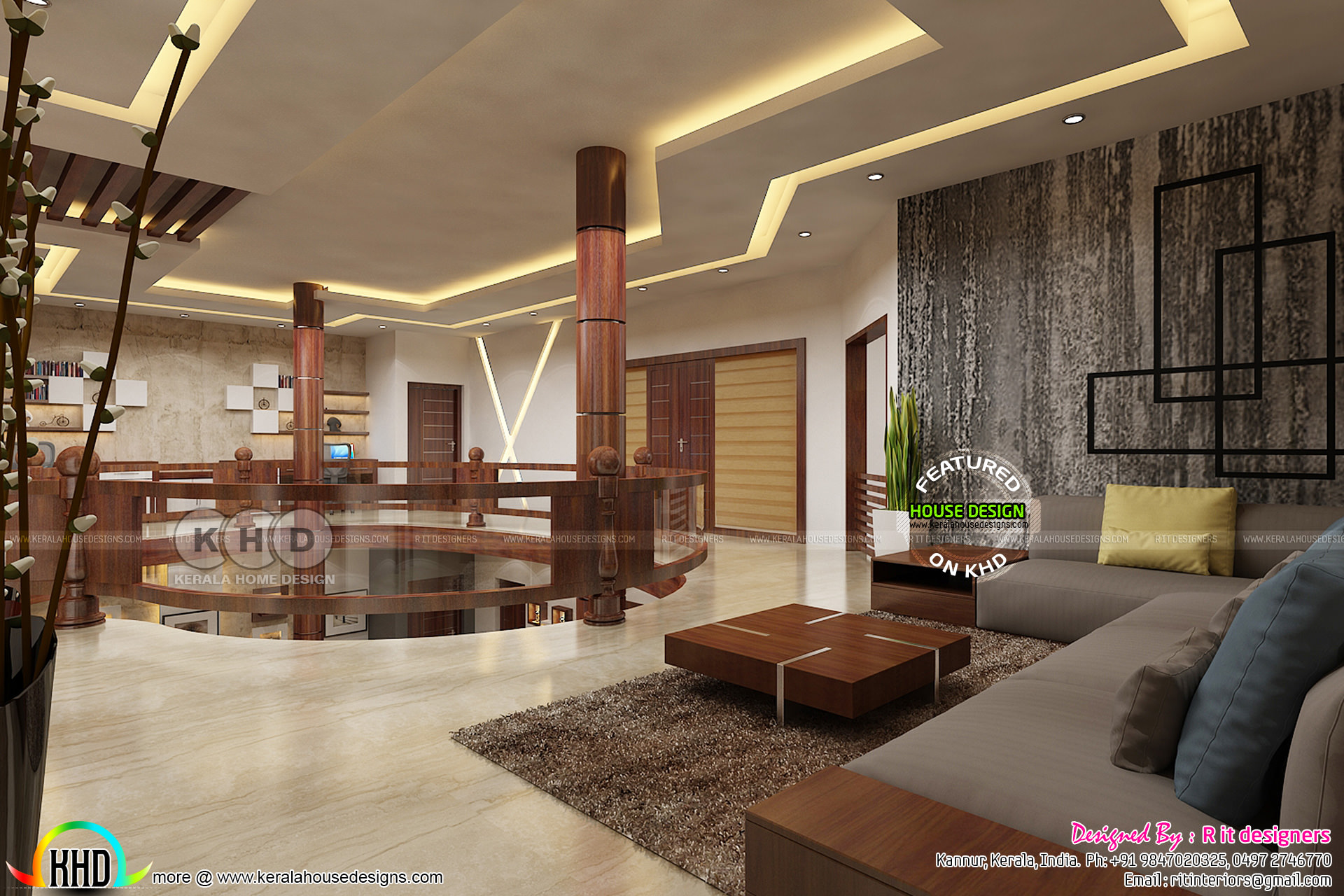 Upper floor interior designs by Rit interiors - Kerala