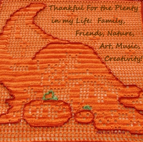 Photo of Crocheted Cornucopia - with Message - Handmade By Ruth Sandra Sperling of RSS Designs In Fiber