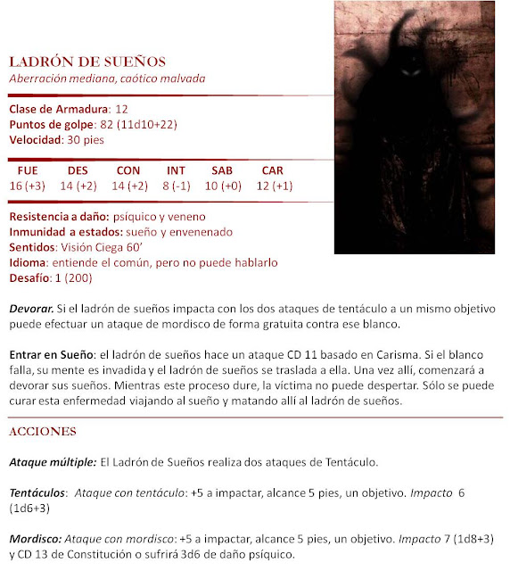 Monstruos D&D 5ª Edición - Ladrón de Sueños