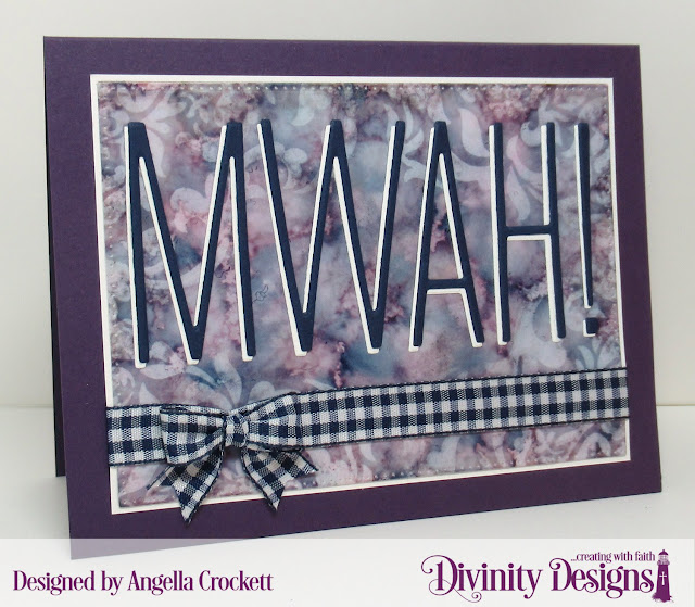 Divinity Designs: Long and Lean Letters Dies, Pierced Rectangles Dies, Damask Mixed Media Stencil, Card Designer Angie Crockett