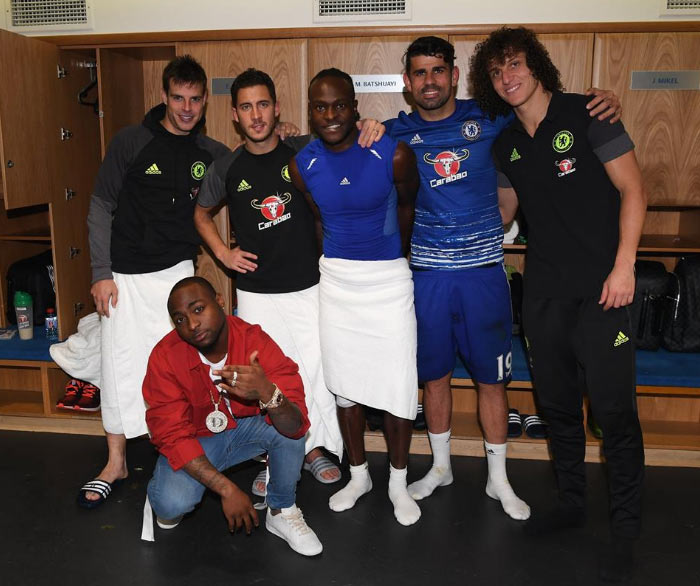 Chelsea FC shares pictures of Davido hanging out with Hazard, Moses, others after match