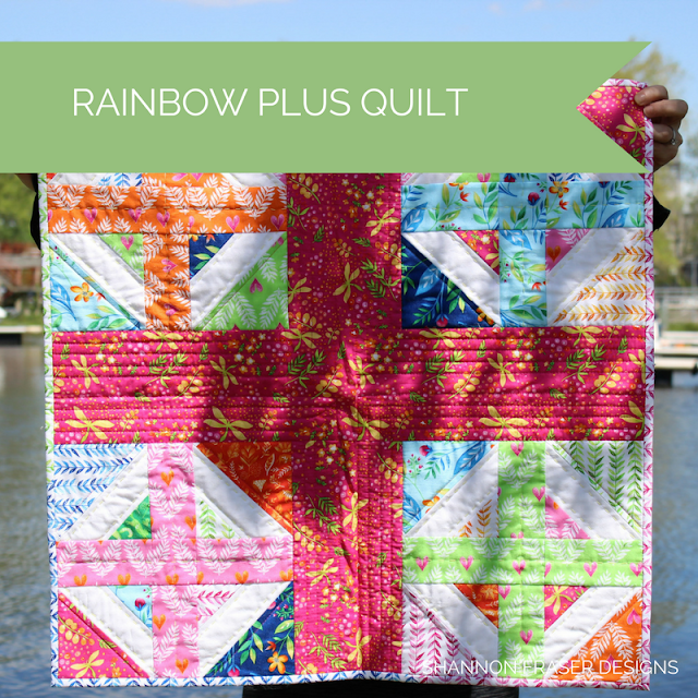 Rainbow Plus Quilt | Shannon Fraser Designs | Modern Wall Hanging | Mini Quilt | Frolic Fabric Collection | Michael Miller Fabrics | Hand Quilted
