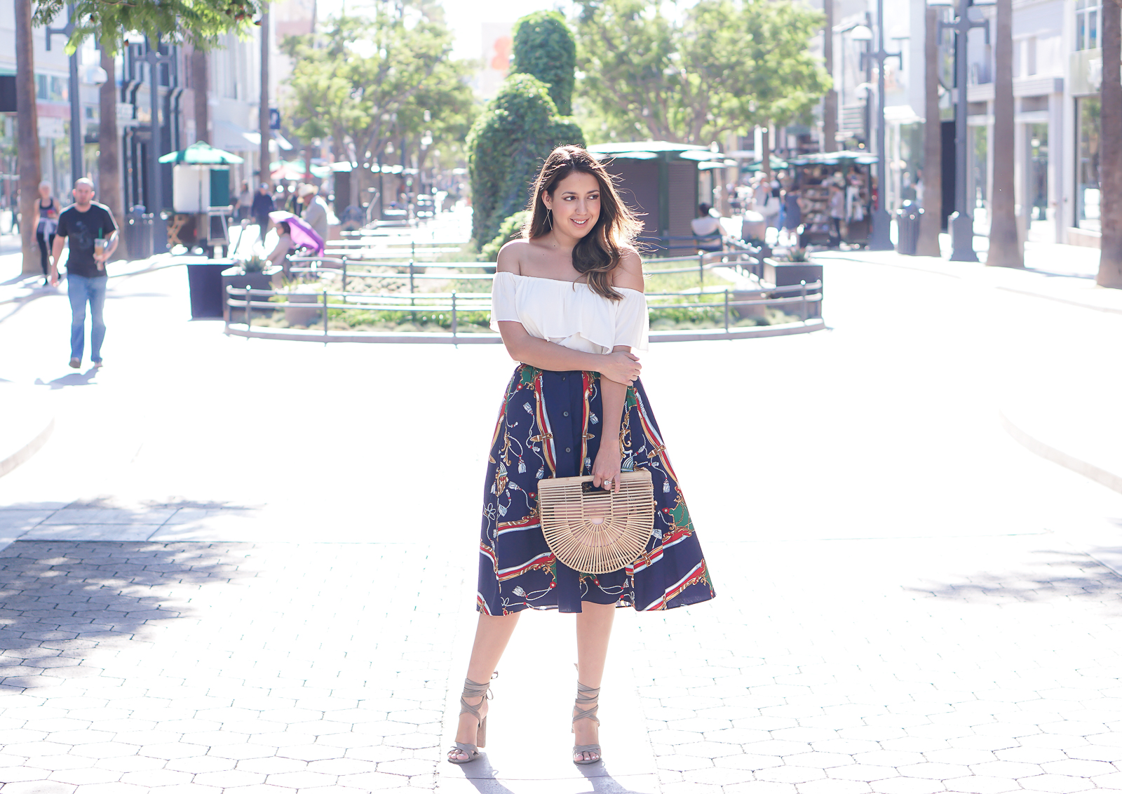 Santa Monica 3rd Street Promenade Shopping, Wearing a forever 21 off the shoulder white top, a Zara blue midi skirt, Steve Madden Christey Heels, and a Cult Gaia bag