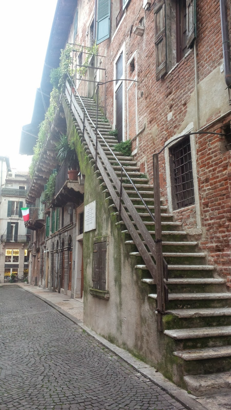 Super long outside staircase of a house in Verona