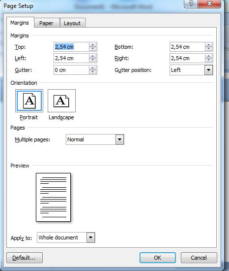 Cara mengatur margins pada microsoft word