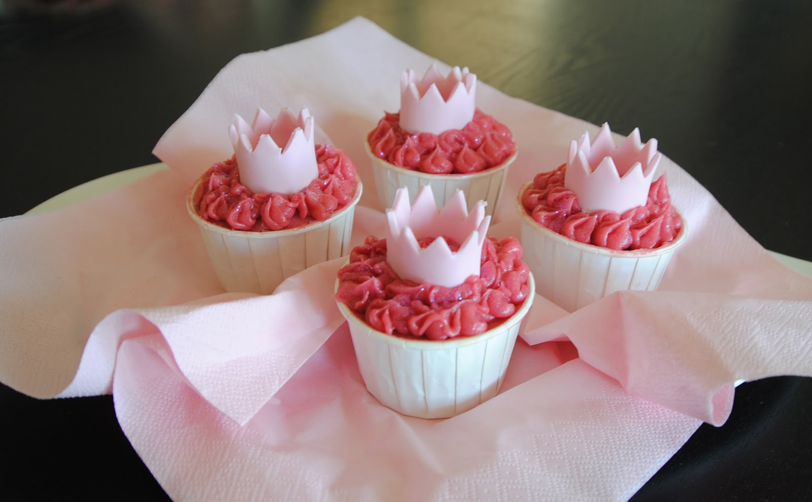 Chocolate Cupcakes With Raspberry Buttercream And Fondant Princess Crown
