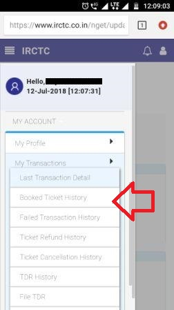 Picture of IRCTC mobile side bar menu with Booked Ticket History option