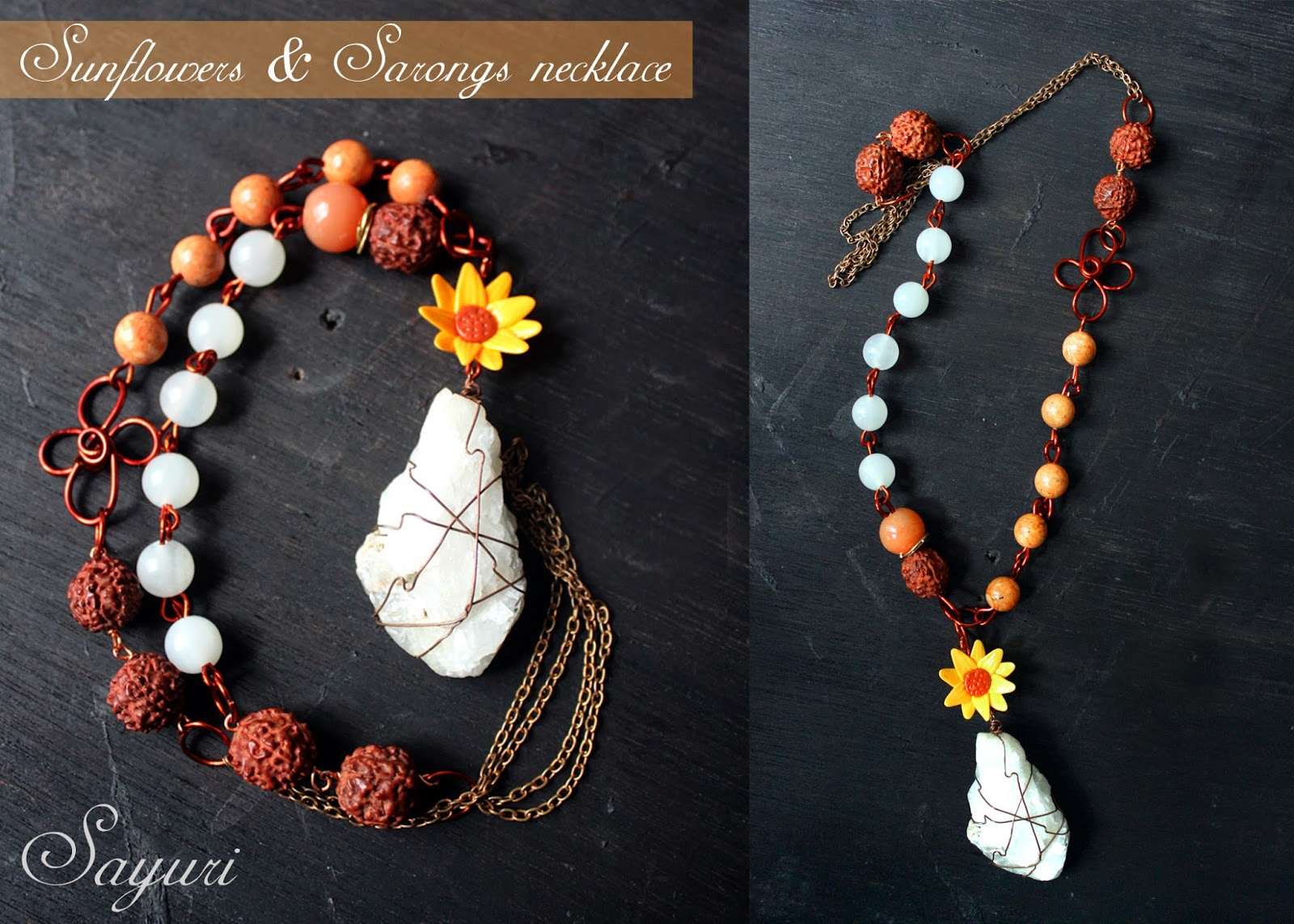 Sunflowers and sarongs necklace Divya N @ sayuri www.jewelsofsayuri.com