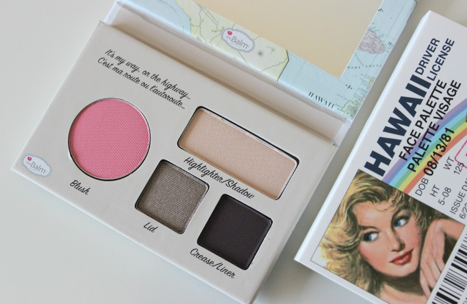 A picture of the theBalm Hawaii Driver License Face Palette